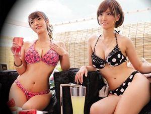 《盗撮》海の相席居酒屋でビキニ巨乳の美女2人をゲット!そのままホテルへ連れ込み乱交セックスでエロボディを賞味!
