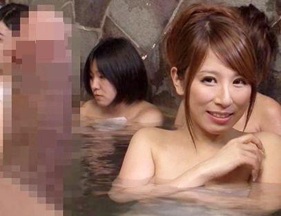 女湯に堂々と入ってきた変態男がギンギン勃起させとるww発情しちゃった巨乳お姉さんと露天風呂で即ハメ開始♡